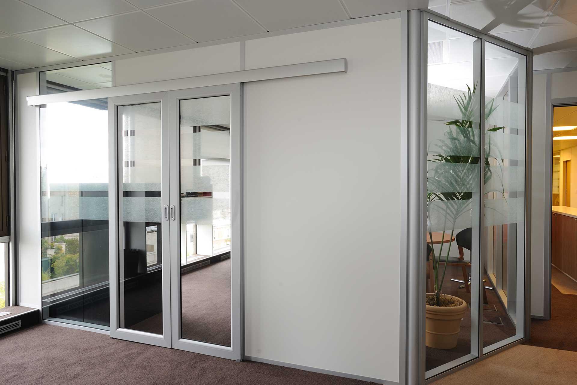 Cloisons amovibles blocs portes cadre aluminium coulissant