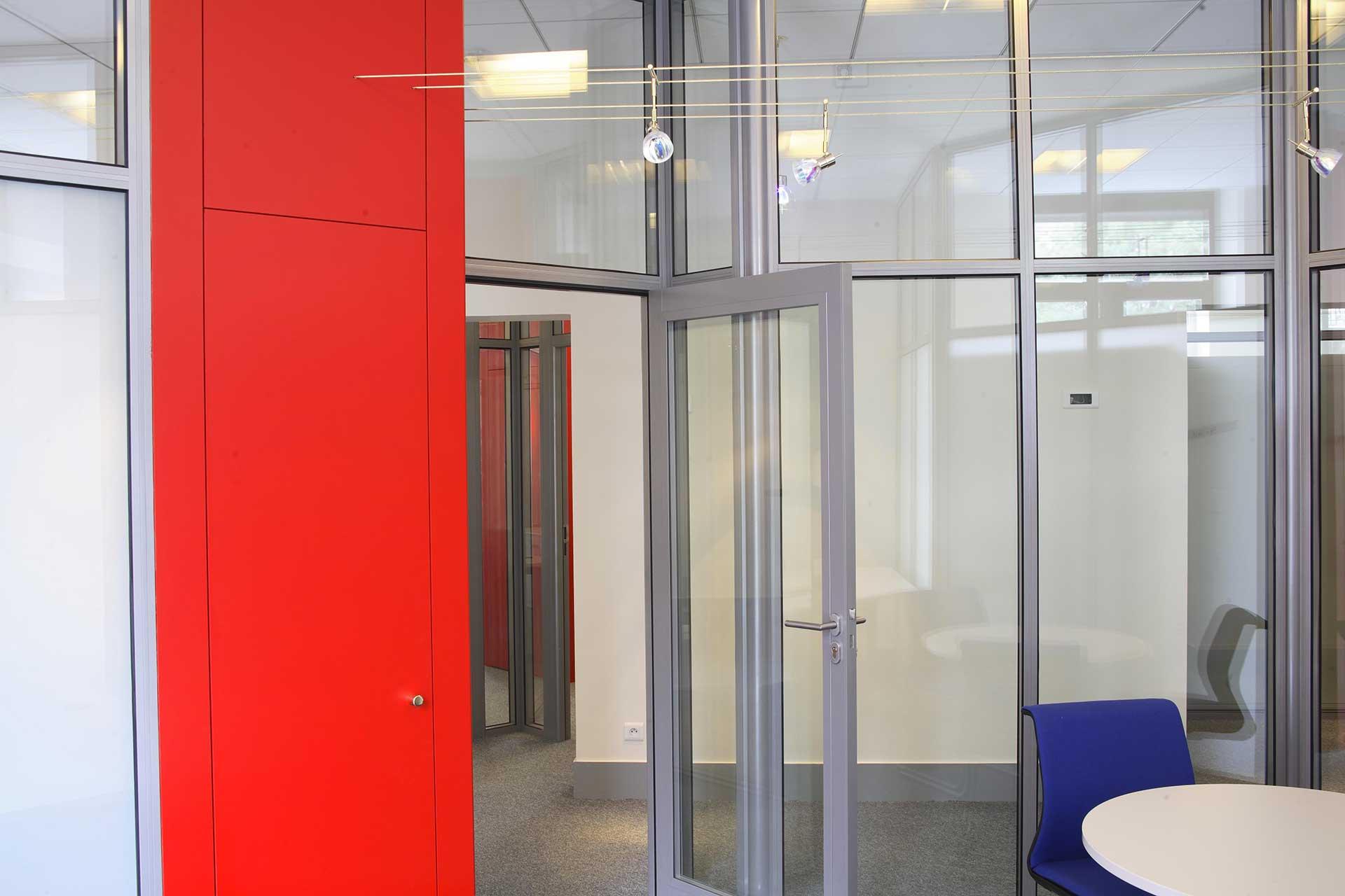 Cloisons amovibles blocs portes cadre aluminium ouvrant simple vantail